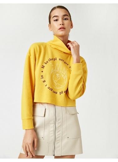 Koton Sal Yaka Yazili Baskili Crop Sweatshirt Sarı